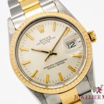 Rolex Oyster Perpetual Date Or/Acier 34mm Blanc Sans chiffres