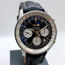 Breitling Navitimer gebraucht 42mm Schwarz Chronograph Datum Leder