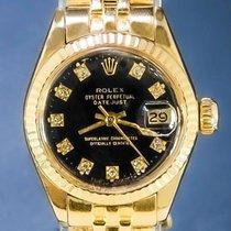 Rolex Lady-Datejust Or jaune 26mm Noir Sans chiffres