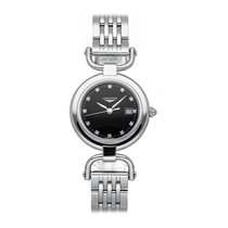 Longines Equestrian pre-owned 30mm Black Date Fold clasp