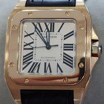 Cartier Roségold Automatik Silber Römisch 33mm gebraucht Santos 100