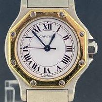 Cartier Santos (submodel) Золото/Cталь 25mm Белый Римские