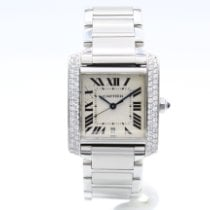 Cartier Steel Automatic Silver Roman numerals 28mm pre-owned Tank Française