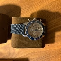 Breitling Superocean Héritage II Chronographe gebraucht 44mm Silber Chronograph Datum Wochentagsanzeige Kautschuk