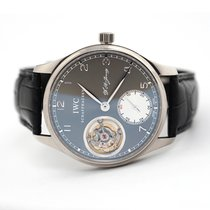 IWC White gold Manual winding Grey 43mm pre-owned Portuguese Tourbillon