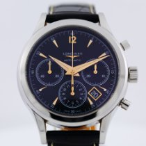 Longines Column-Wheel Chronograph pre-owned 41mm Black Chronograph Date Crocodile skin