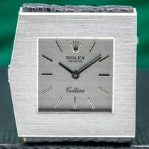 Rolex Cellini pre-owned 28mm Silver Lizard skin