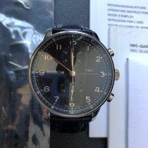 萬國 Portuguese Chronograph 鋼 40.9mm 黑色 阿拉伯數字