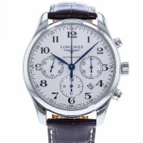 Longines Master Collection pre-owned 42mm Silver Chronograph Date Leather