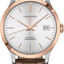 Longines Record Gold/Steel 40mm Silver No numerals