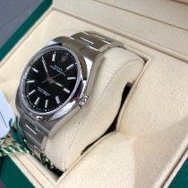 Rolex Oyster Perpetual 39 Stahl 39mm Schwarz Keine Ziffern