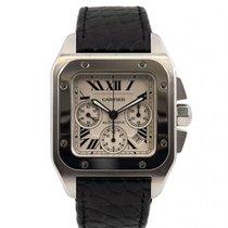 Cartier Santos 100 używany 41mm Biały Chronograf Data Skóra