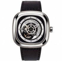 Sevenfriday P1B-1 Stal 47mm Czarny Bez cyfr