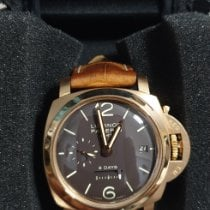 Panerai Rose gold Manual winding Brown Arabic numerals pre-owned Luminor 1950 8 Days GMT