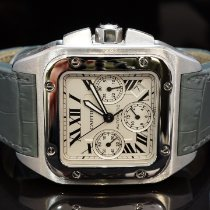 Cartier Santos 100 używany Srebrny Chronograf Data Skóra krokodyla