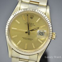 Rolex Yellow gold Automatic Champagne No numerals 34mm pre-owned Oyster Perpetual Date