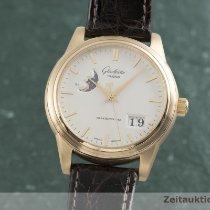 Glashütte Original Senator Automatic pre-owned 38.5mm Silver Moon phase Date Crocodile skin