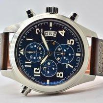 IWC Fliegeruhr Doppelchronograph Stahl 43mm Blau Arabisch Deutschland, Iffezheim
