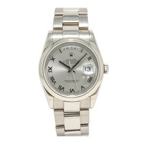 Rolex Steel Automatic Silver Roman numerals 36mm pre-owned Day-Date 36