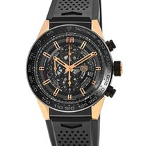 TAG Heuer Rose gold Automatic Transparent 45mm new Carrera Calibre HEUER 01