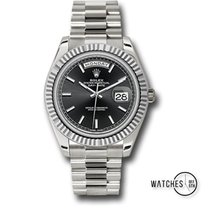 Rolex White gold Automatic Black No numerals 40mm new Day-Date 40