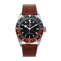 Tudor Black Bay GMT pre-owned 41mm Black Date Leather