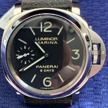 沛納海 Luminor Marina 8 Days 鋼 44mm 黑色 阿拉伯數字