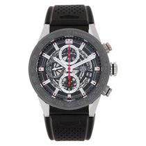 TAG Heuer Carrera Calibre HEUER 01 pre-owned 43mm Black Chronograph Date Rubber