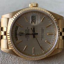 Rolex Day-Date 36 Geelgoud 36mm Zilver Geen cijfers