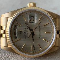 Rolex Day-Date 36 Gelbgold 36mm Silber Keine Ziffern