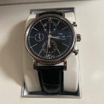 IWC Portofino Chronograph pre-owned 42mm Black Chronograph Date Crocodile skin