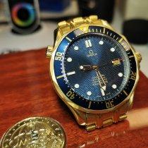 Omega Seamaster Diver 300 M Or jaune 41mm Bleu Sans chiffres