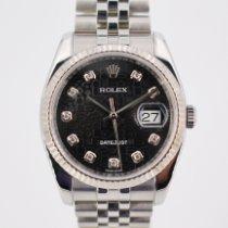 Rolex Datejust Or blanc 36mm Noir Sans chiffres