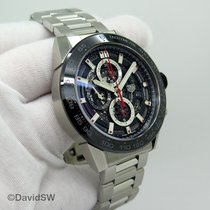 TAG Heuer Carrera Calibre HEUER 01 pre-owned 45mm Transparent Chronograph Date Tachymeter Steel