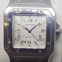 Cartier Steel Automatic Silver Roman numerals 29mm pre-owned Santos Galbée