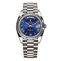 Rolex White gold Automatic Blue Roman numerals 40mm pre-owned Day-Date 40