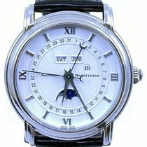 Maurice Lacroix Masterpiece Phases de Lune pre-owned 38mm White Moon phase Date Weekday Month Leather