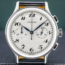 Longines Heritage pre-owned 40mm White Chronograph Leather