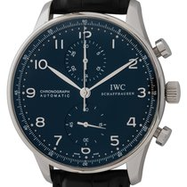 IWC Portuguese Chronograph pre-owned 41mm Black Chronograph Crocodile skin