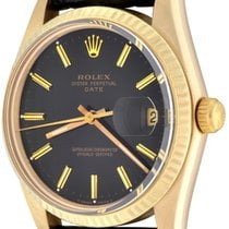 Rolex Yellow gold Automatic Black No numerals 34mm pre-owned Oyster Perpetual Date
