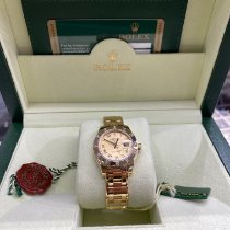 Rolex Geelgoud Automatisch Wit Romeins 29mm tweedehands Lady-Datejust Pearlmaster