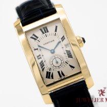 Cartier Tank Américaine gebraucht Weiß Leder