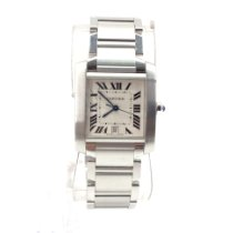 Cartier Tank Française pre-owned 28mm White Date Steel