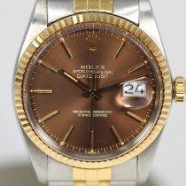 Rolex Datejust Золото/Cталь 36mm Коричневый Без цифр