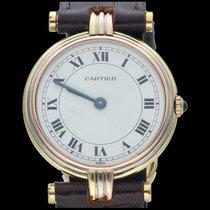 Cartier Gelbgold Quarz Weiß Römisch 24mm gebraucht Trinity