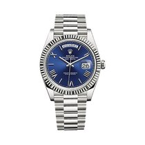 Rolex White gold Automatic Blue Roman numerals 40mm new Day-Date 40