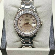 Rolex Yellow gold Automatic Silver 29mm pre-owned Lady-Datejust Pearlmaster
