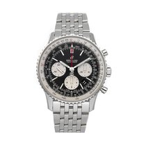Breitling Steel Automatic Black No numerals 43mm pre-owned Navitimer 1 B01 Chronograph 43