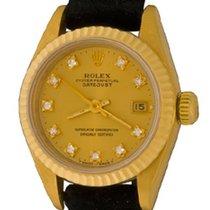 Rolex Lady-Datejust Oro amarillo 25mm Champán Sin cifras