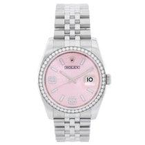 Rolex Datejust Сталь 36mm Розовый Aрабские